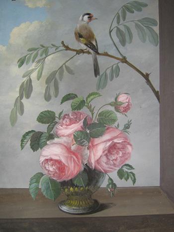 Неизвестный художник первой трети ХІХ в. Композиция с розами и щеглом на ветке. Бумага, гуашь