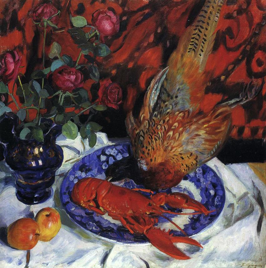 Б. Кустодиев. Натюрморт. Омар и фазан. 1912. Холст, масло