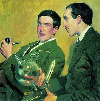 Б.М. КУСТОДИЕВ (1878–1927). П.Л. Капица и Н.Н. Семёнов. 1921 г.
